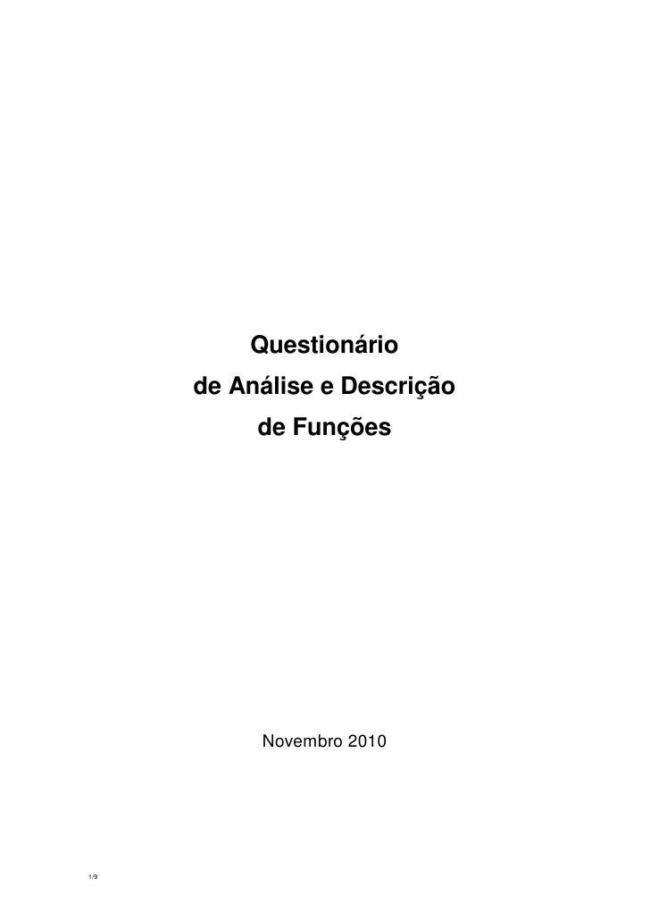Questionário      de Análise e Descrição           de Funções           Novembro 20101/9
