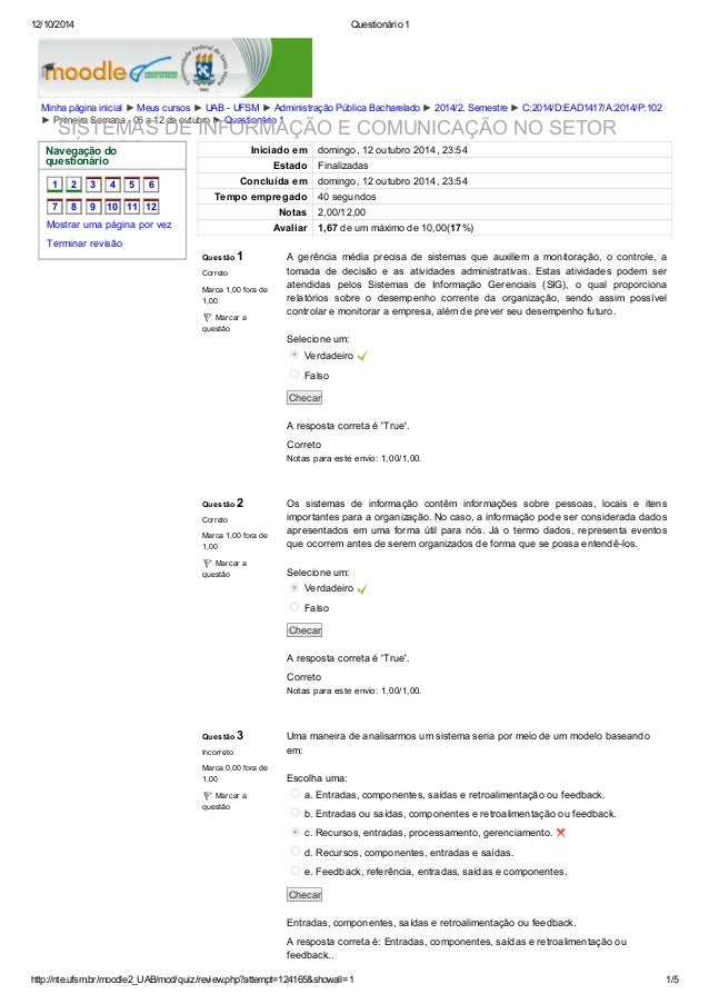 12/10/2014 Questionário 1  Minha página inicial ► Meus cursos ► UAB - UFSM ► Administração Pública Bacharelado ► 2014/2. S...