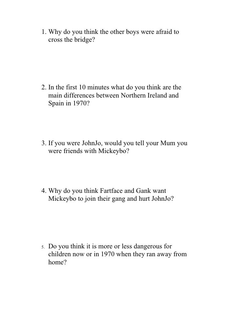 1. Why do you think the other boys were afraid to    cross the bridge?     2. In the first 10 minutes what do you think ar...