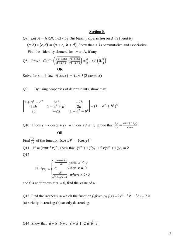 Mathematics sample paper for cbse class 12 2018.