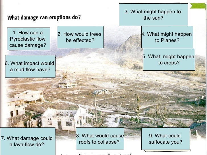 1. How can a  Pyroclastic flow  cause damage?  4. What might happen  to Planes? 6. What impact would  a mud flow have? 2. ...