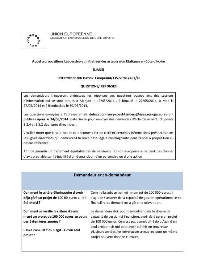 UNION EUROPEENNE DELEGATION EN REPUBLIQUE DE COTE D'IVOIRE Appel à propositions Leadership et initiatives des acteurs non ...