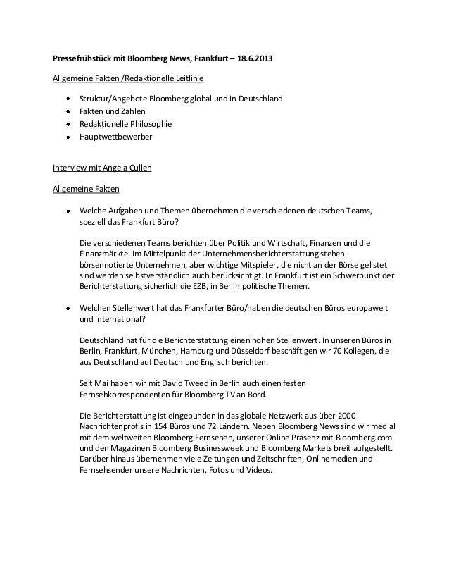 Pressefrühstück mit Bloomberg News, Frankfurt – 18.6.2013 Allgemeine Fakten /Redaktionelle Leitlinie Struktur/Angebote Blo...