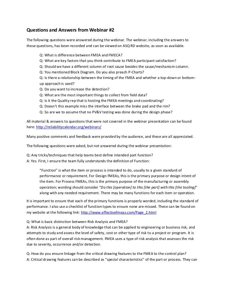 Questions and Answers from Webinar #2The following questions were answered during the webinar. The webinar, including the ...