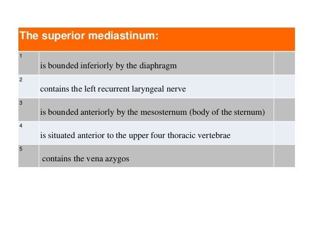 The superior mediastinum: 1 is bounded inferiorly by the diaphragm 2 contains the left recurrent laryngeal nerve 3 is boun...