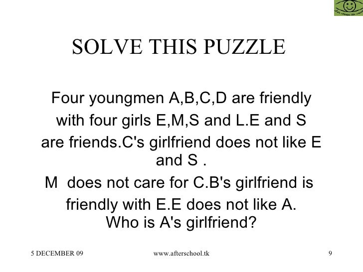 9 SOLVE THIS PUZZLE