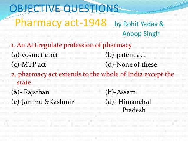 mcq Questions pharmacy act