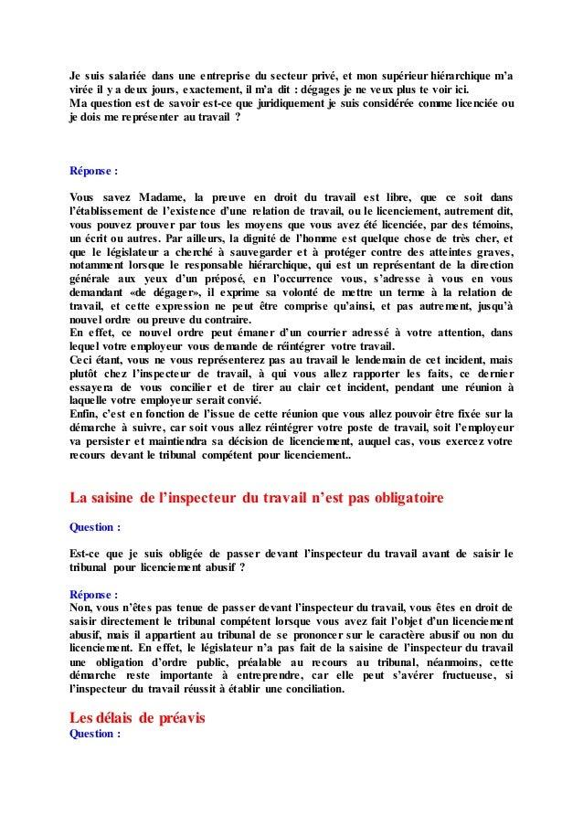 Questions & réponses en droit du travail Slide 3