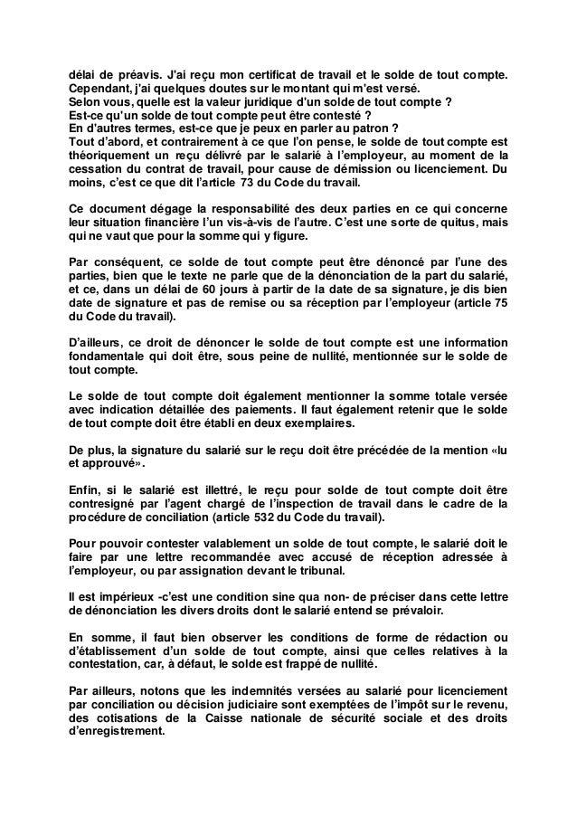 Contestation Solde De Tout Compte Groupe Sister