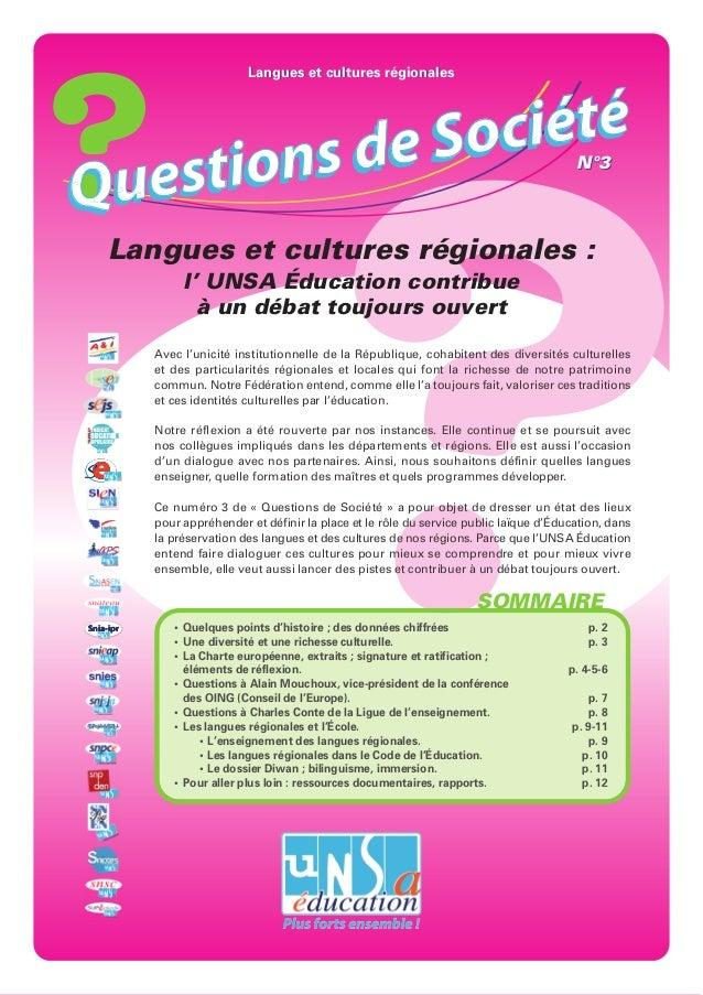 Langues et cultures régionales            de S o ciétéQ uest ions                                                         ...