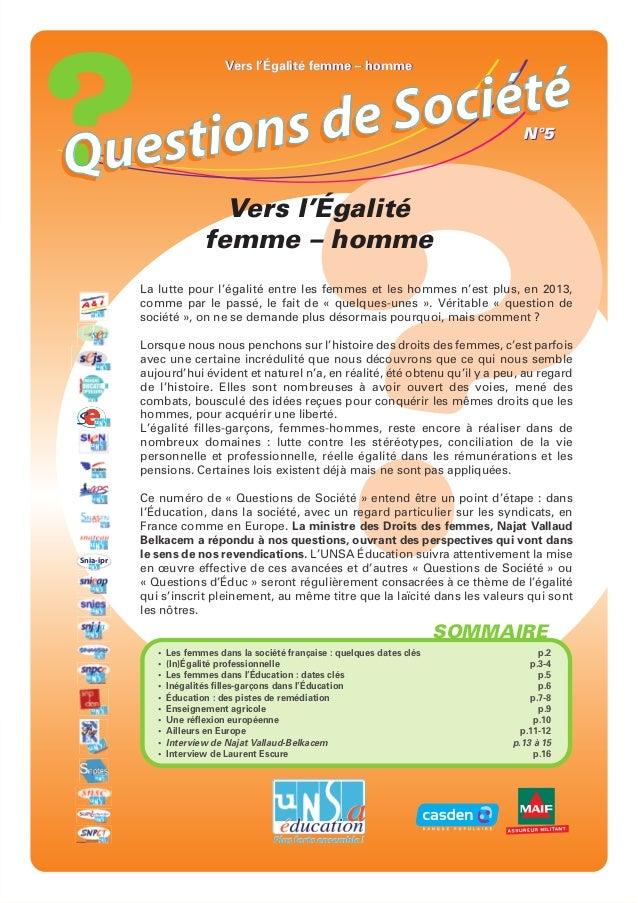 Vers l'Égalité femme – homme          de S o ciétéQuestions                                                               ...