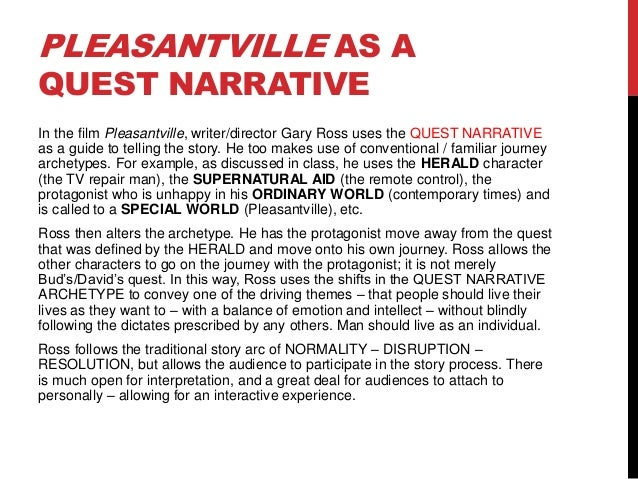 pleasantville critical essay Read this essay on pleasantville racism paper come browse our large digital warehouse of free sample essays get the knowledge you need in order to pass your classes and more.