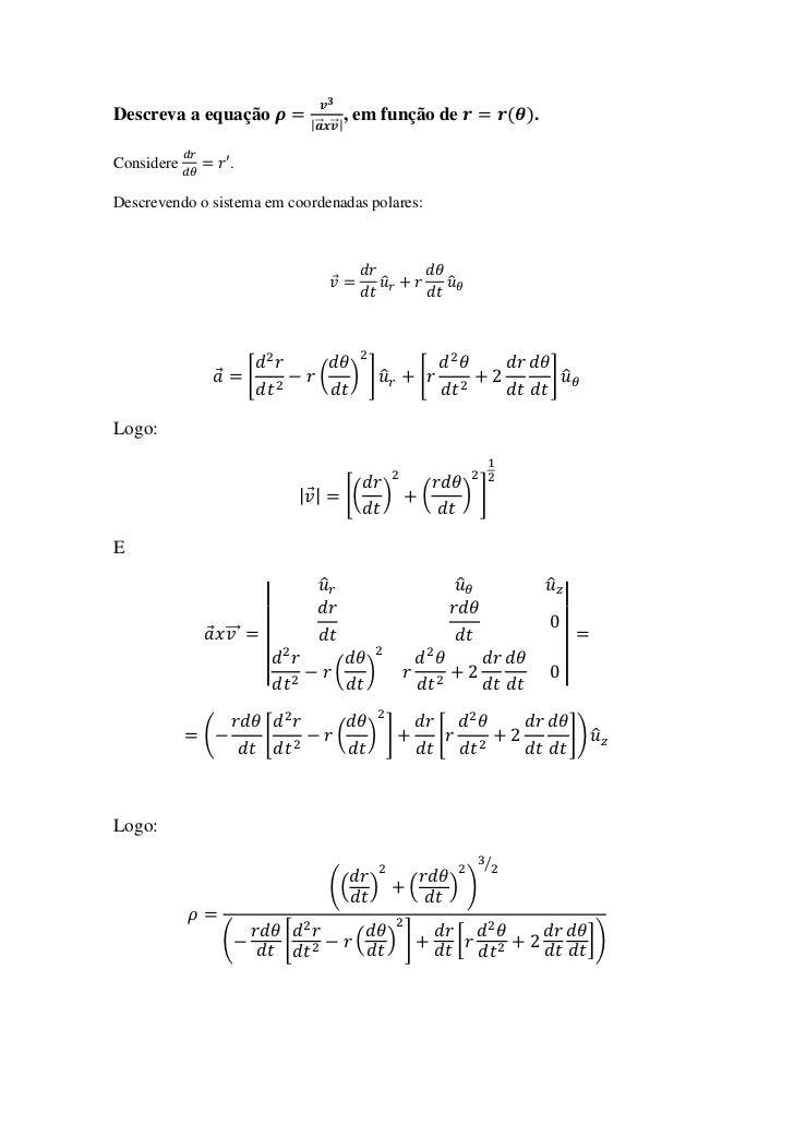 Descreva a equação                  |⃗ ⃗ |                                             , em função de                     ...