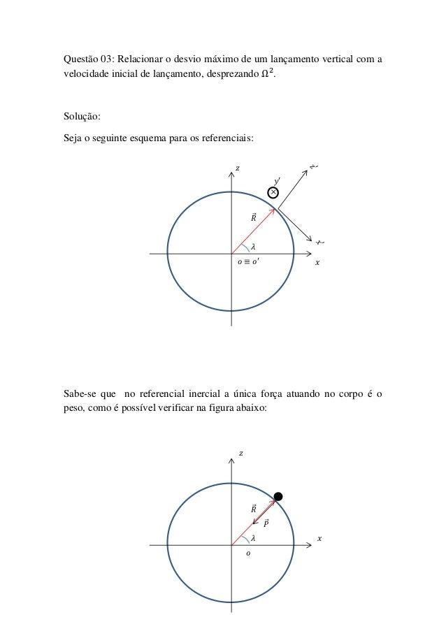 Questão 03: Relacionar o desvio máximo de um lançamento vertical com avelocidade inicial de lançamento, desprezando .Soluç...