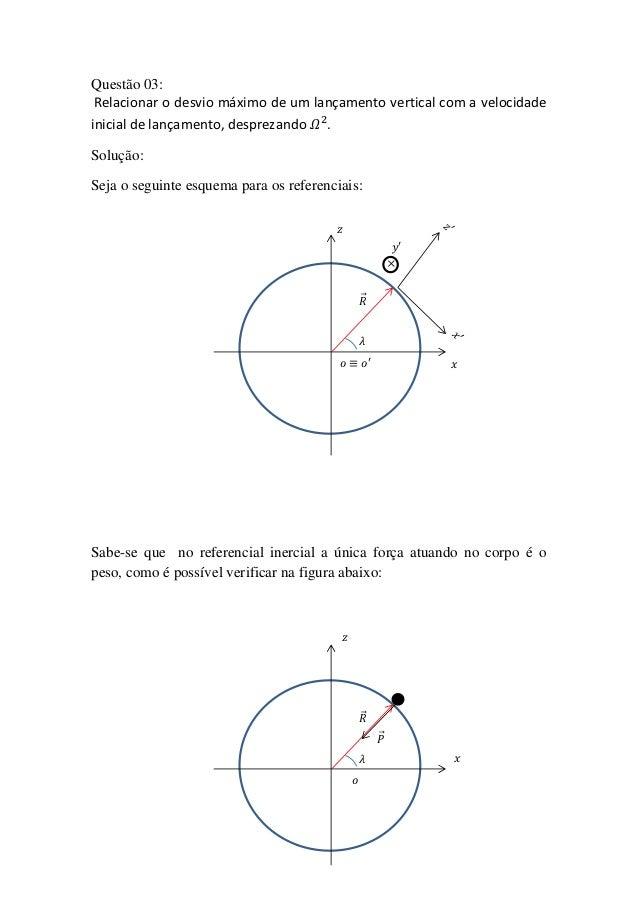 Questão 03: Relacionar o desvio máximo de um lançamento vertical com a velocidadeinicial de lançamento, desprezando .Soluç...