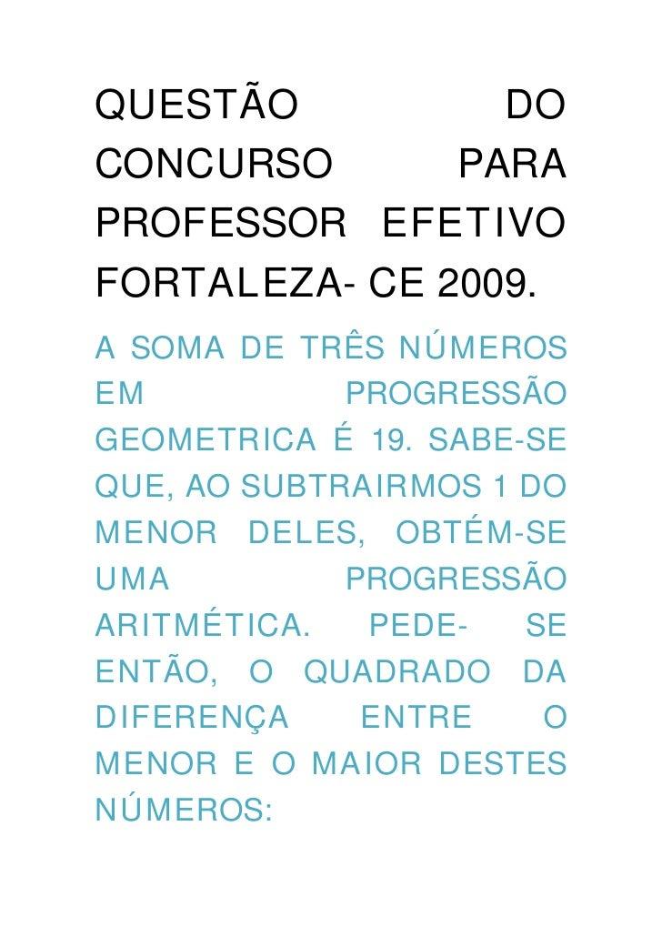 Quest o do concurso pra professor efetivo fortaleza for Concurso profesor