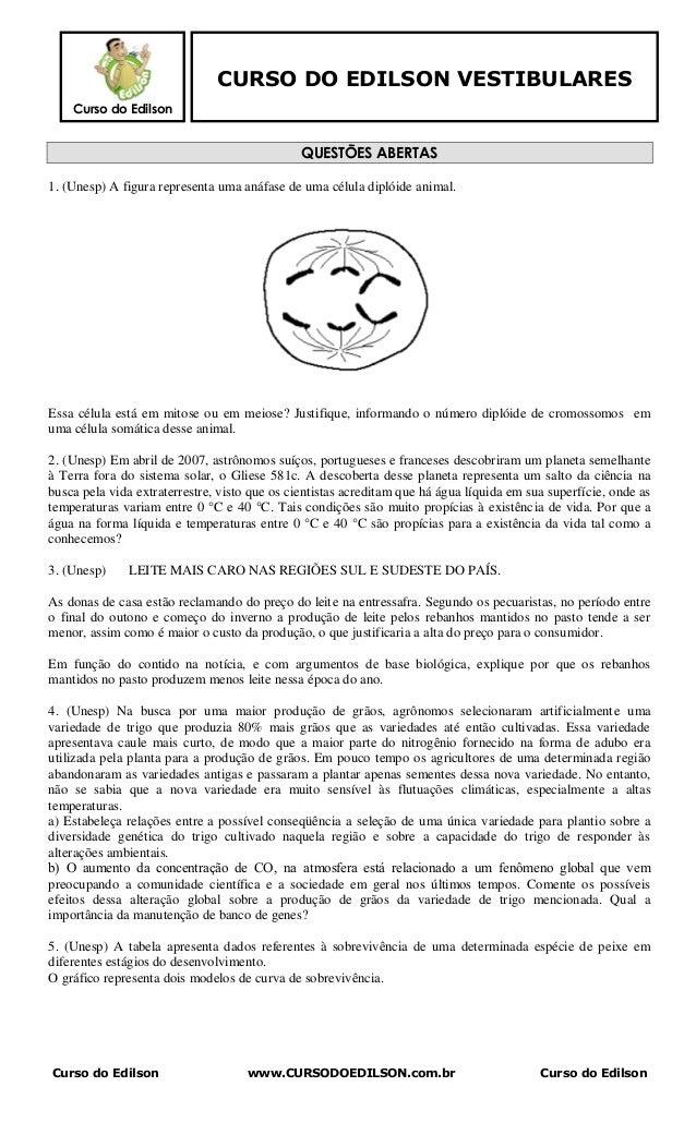 CURSO DO EDILSON VESTIBULARES    Curso do Edilson                                               QUESTÕES ABERTAS1. (Unesp)...