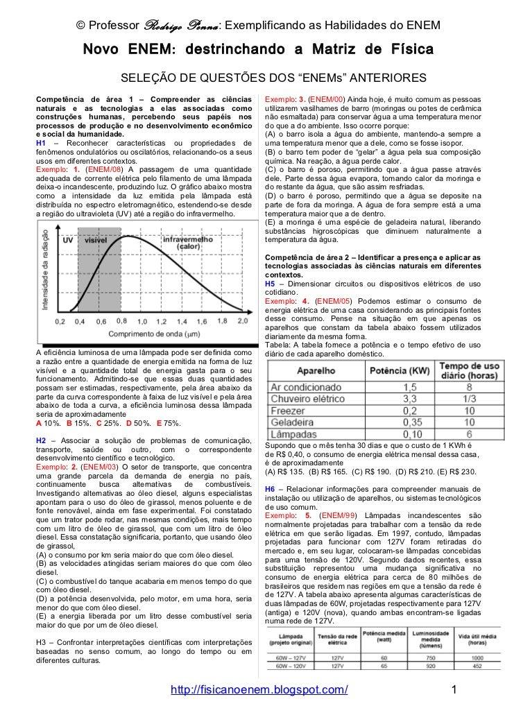 © Professor Rodrigo Penna: Exemplificando as Habilidades do ENEM                        Novo ENEM: destrinchando a Matriz ...