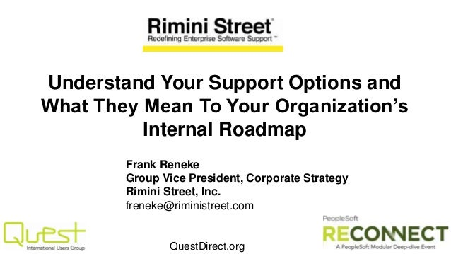 QuestDirect.org Understand Your Support Options and What They Mean To Your Organization's Internal Roadmap Frank Reneke Gr...