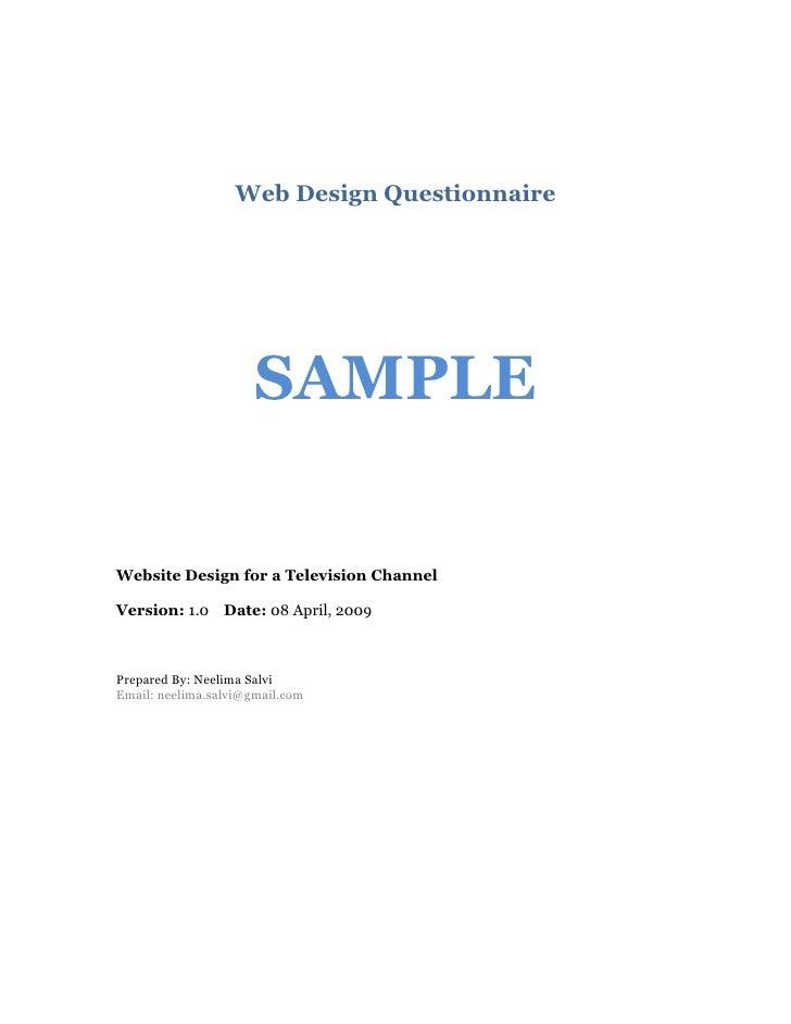 Sample Web Design Questionnaire