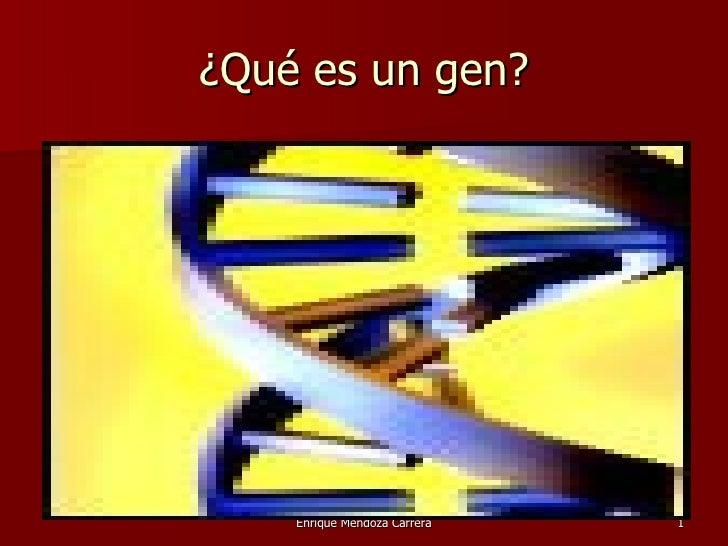 ¿Qué es un gen?    Enrique Mendoza Carrera   1