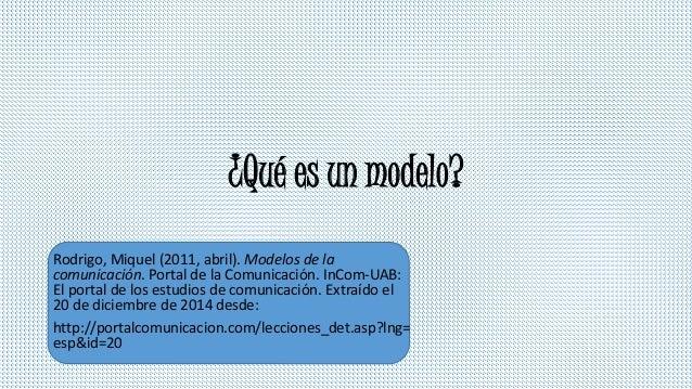 ¿Qué es un modelo? Rodrigo, Miquel (2011, abril). Modelos de la comunicación. Portal de la Comunicación. InCom-UAB: El por...