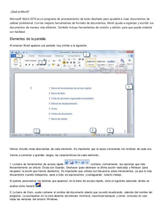 ¿Qué esWord? Microsoft Word 2010 es un programa de procesamiento de texto diseñado para ayudarle a crear documentos de cal...