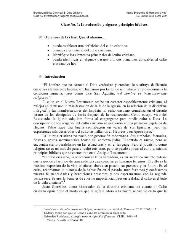 """Enseñanza Bíblica Dominical: El Culto Cristiano. Iglesia Evangélica """"El Mensaje de Vida"""" Clase No. 1: Introducción y algun..."""