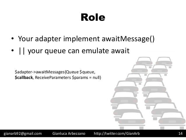http://twitter.com/GianArb Role • Your adapter implement awaitMessage() • || your queue can emulate await gianarb92@gmail....