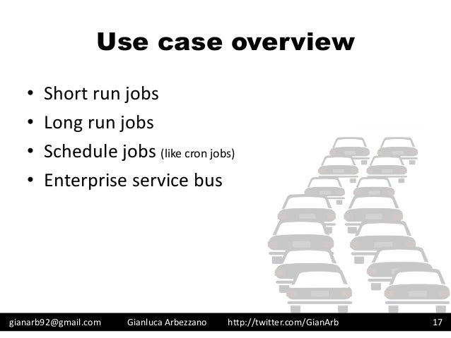 http://twitter.com/GianArb Use case overview • Short run jobs • Long run jobs • Schedule jobs (like cron jobs) • Enterpris...