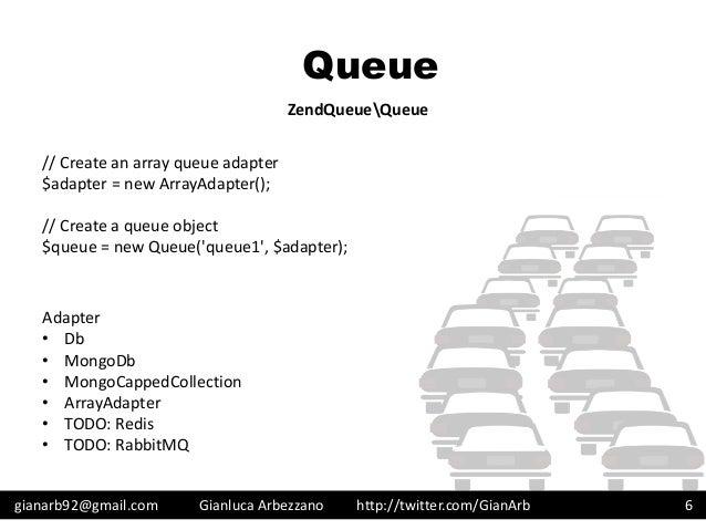 http://twitter.com/GianArb Queue gianarb92@gmail.com Gianluca Arbezzano 6 ZendQueueQueue // Create an array queue adapter ...