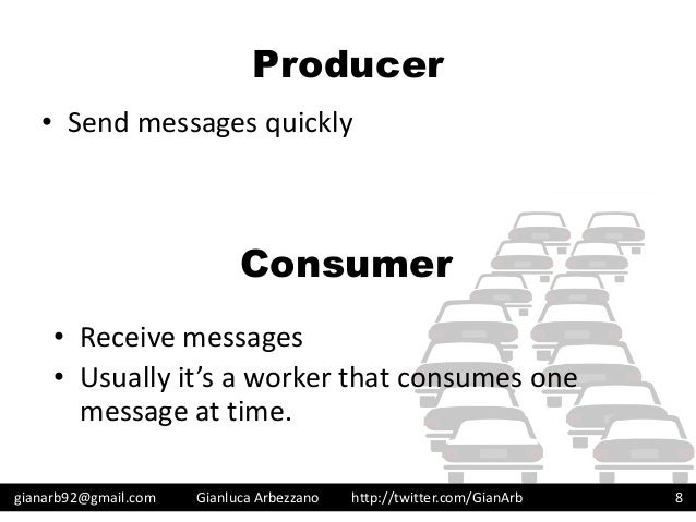 http://twitter.com/GianArb Producer • Send messages quickly gianarb92@gmail.com Gianluca Arbezzano 8 Consumer • Receive me...