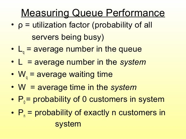 Measuring Queue Performance • ρ = utilization factor (probability of all servers being busy) • Lq = average number in the ...