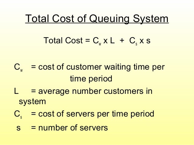 Total Cost of Queuing System Total Cost = Cw x L + Cs x s Cw = cost of customer waiting time per time period L = average n...