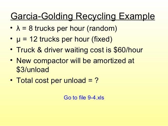 Garcia-Golding Recycling Example • λ = 8 trucks per hour (random) • μ = 12 trucks per hour (fixed) • Truck & driver waitin...