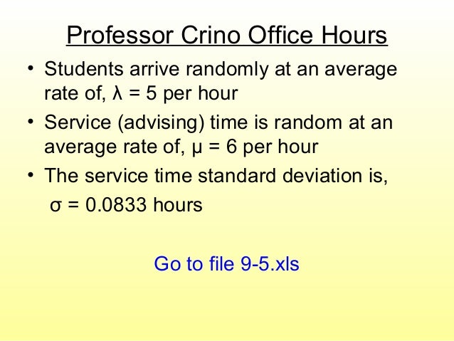 Professor Crino Office Hours • Students arrive randomly at an average rate of, λ = 5 per hour • Service (advising) time is...