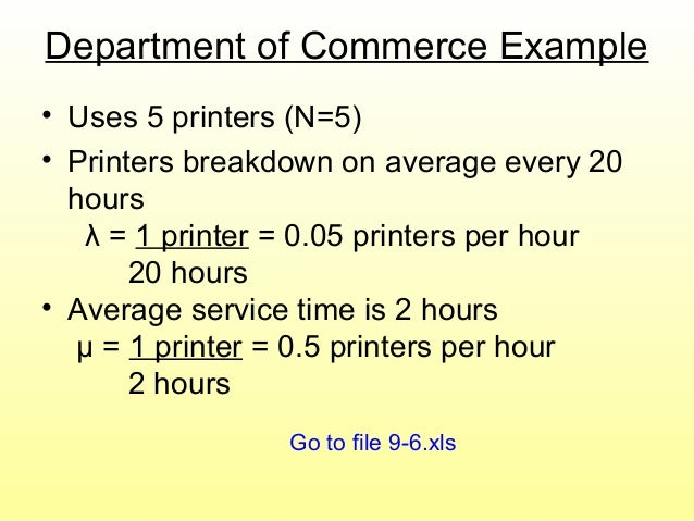 Department of Commerce Example • Uses 5 printers (N=5) • Printers breakdown on average every 20 hours λ = 1 printer = 0.05...