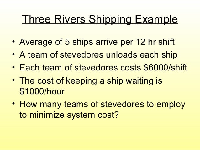 Three Rivers Shipping Example • Average of 5 ships arrive per 12 hr shift • A team of stevedores unloads each ship • Each ...