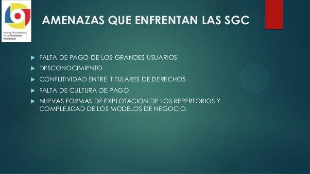 AMENAZAS QUE ENFRENTAN LAS SGC  FALTA DE PAGO DE LOS GRANDES USUARIOS  DESCONOCIMIENTO  CONFLITIVIDAD ENTRE TITULARES D...