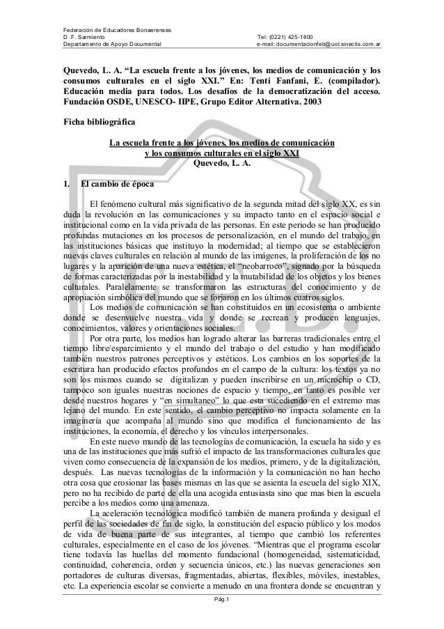 Federación de Educadores Bonaerenses D .F. Sarmiento Tel: (0221) 425-1800 Departamento de Apoyo Documental e-mail: documen...