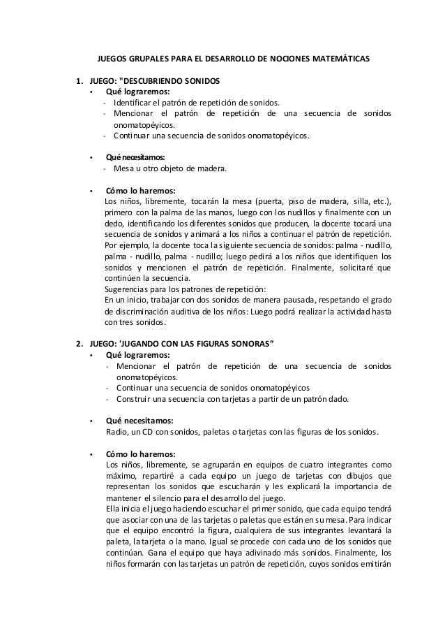 """JUEGOS GRUPALES PARA EL DESARROLLO DE NOCIONES MATEMÁTICAS 1. JUEGO: """"DESCUBRIENDO SONIDOS • Qué lograremos: - Identificar..."""