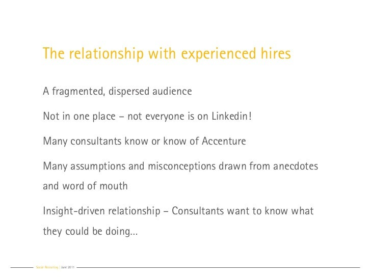 The relationship with experienced hires     A fragmented, dispersed audience     Not in one place – not everyone is on Lin...