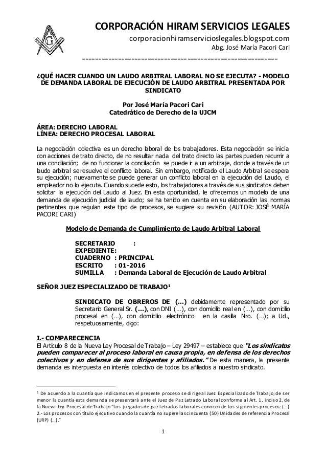 CORPORACIÓN HIRAM SERVICIOS LEGALES corporacionhiramservicioslegales.blogspot.com Abg. José María Pacori Cari ------------...