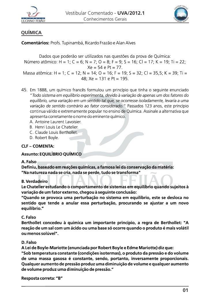 Prova  Química Geral UVA 2012.1