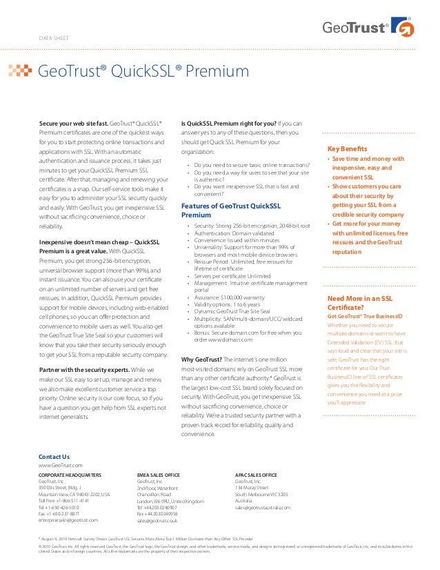 Geo Trust Quick Ssl Premium Certificate