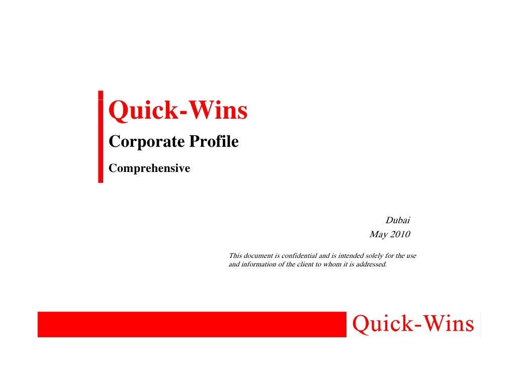 Quick-Wins Corporate Profile Comprehensive                                                                       Dubai    ...