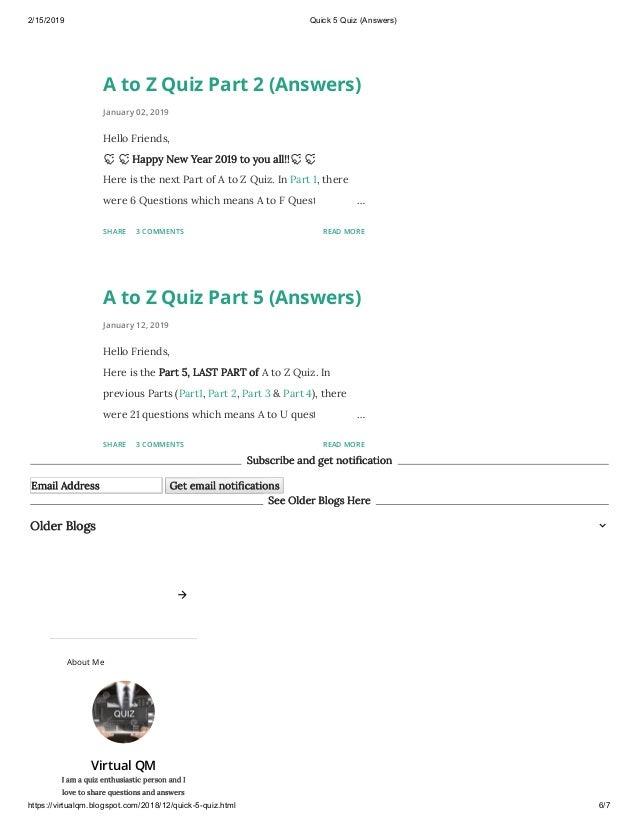 Quick 5 quiz (answers)
