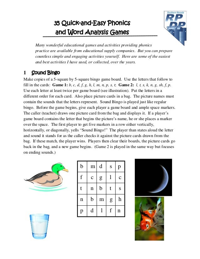 35 Quick-and-Easy Phonics and Word Analysis Games Many wonderful educational games and activities providing phonics practi...