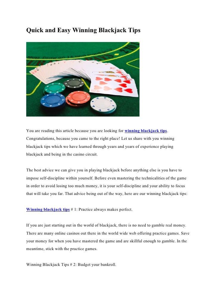 Blackjack Winning Tips