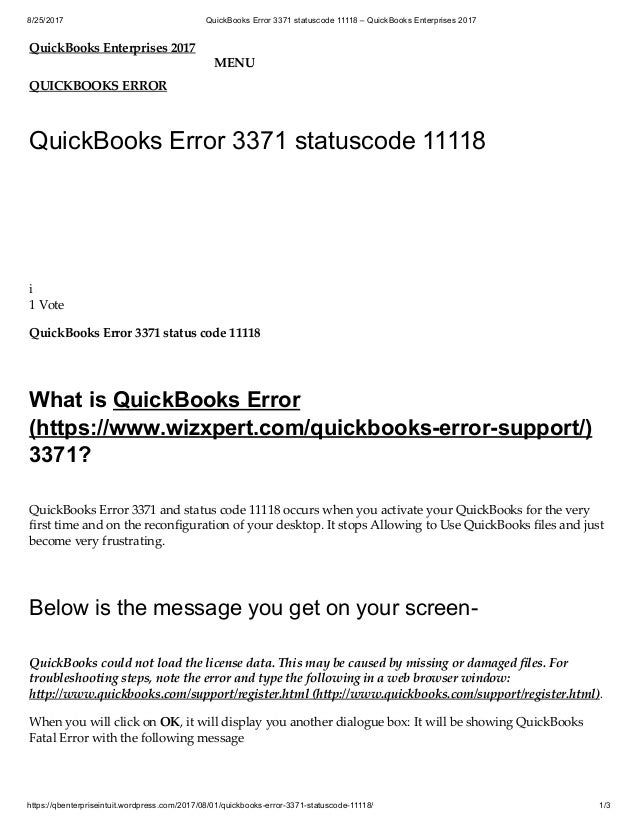 Quickbooks could not load the license data